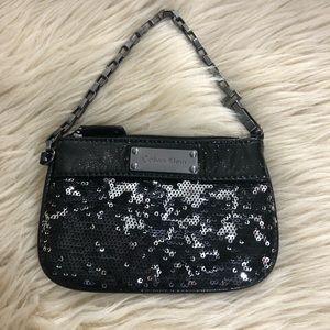 Calvin Klein black sequin wristlet pouch wallet